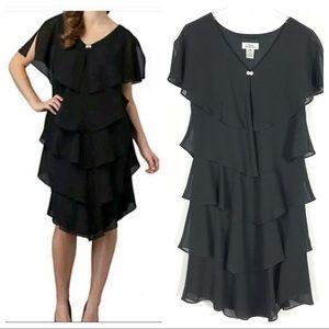 PATRA Black Ruffle Tiered Flapper Cocktail Dress 8
